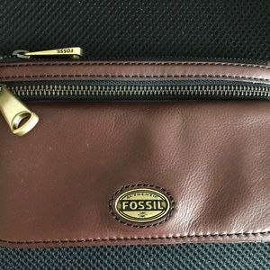 Fossil Brown Cowhide Leather Wallet Clutch
